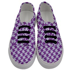 Houndstooth2 White Marble & Purple Denim Men s Classic Low Top Sneakers