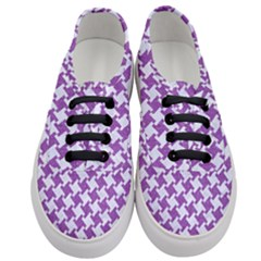 Houndstooth2 White Marble & Purple Denim Women s Classic Low Top Sneakers