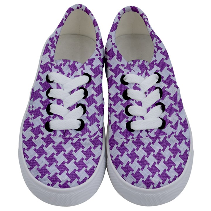 HOUNDSTOOTH2 WHITE MARBLE & PURPLE DENIM Kids  Classic Low Top Sneakers