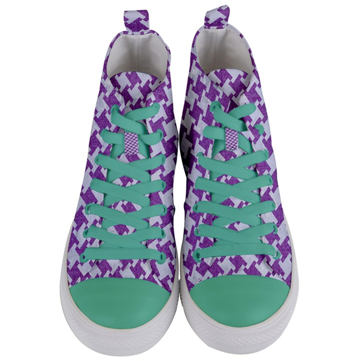 HOUNDSTOOTH2 WHITE MARBLE & PURPLE DENIM Women s Mid-Top Canvas Sneakers