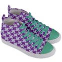 HOUNDSTOOTH2 WHITE MARBLE & PURPLE DENIM Women s Mid-Top Canvas Sneakers View3
