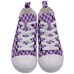 Houndstooth2 White Marble & Purple Denim Kid s Mid Top Canvas Sneakers