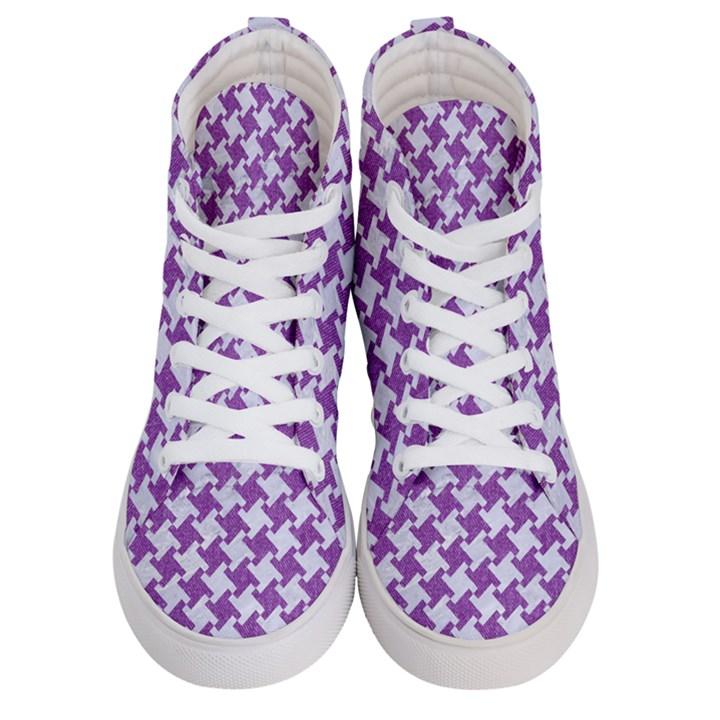 HOUNDSTOOTH2 WHITE MARBLE & PURPLE DENIM Women s Hi-Top Skate Sneakers