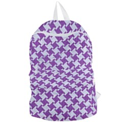 Houndstooth2 White Marble & Purple Denim Foldable Lightweight Backpack