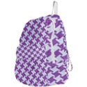 HOUNDSTOOTH2 WHITE MARBLE & PURPLE DENIM Foldable Lightweight Backpack View4