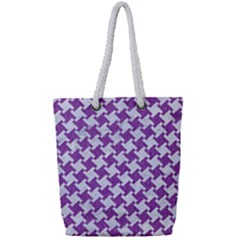Houndstooth2 White Marble & Purple Denim Full Print Rope Handle Tote (small)