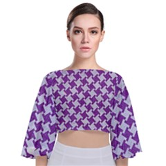 Houndstooth2 White Marble & Purple Denim Tie Back Butterfly Sleeve Chiffon Top