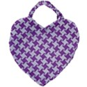 HOUNDSTOOTH2 WHITE MARBLE & PURPLE DENIM Giant Heart Shaped Tote View1