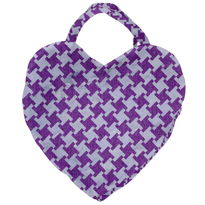 HOUNDSTOOTH2 WHITE MARBLE & PURPLE DENIM Giant Heart Shaped Tote