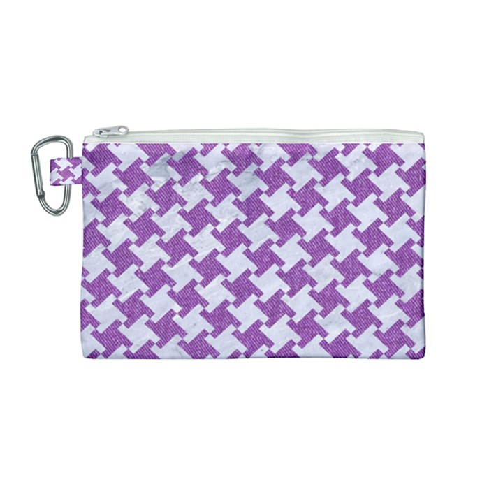 HOUNDSTOOTH2 WHITE MARBLE & PURPLE DENIM Canvas Cosmetic Bag (Medium)