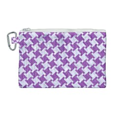 Houndstooth2 White Marble & Purple Denim Canvas Cosmetic Bag (large)