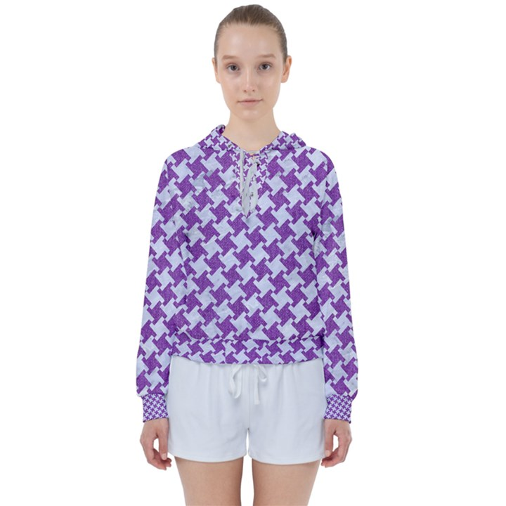 HOUNDSTOOTH2 WHITE MARBLE & PURPLE DENIM Women s Tie Up Sweat