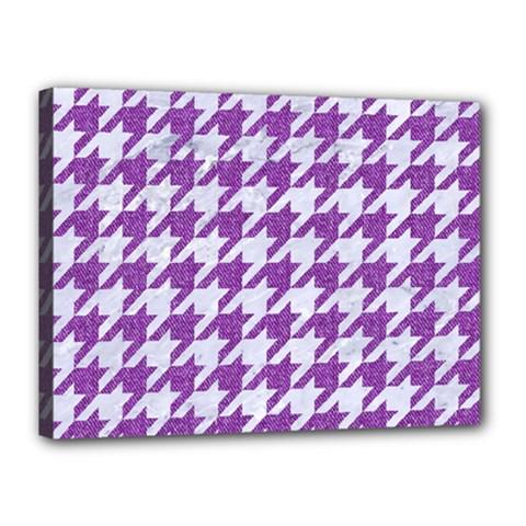 Houndstooth1 White Marble & Purple Denim Canvas 16  X 12