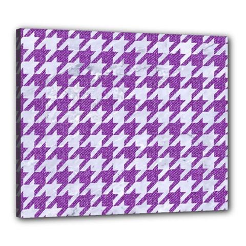 Houndstooth1 White Marble & Purple Denim Canvas 24  X 20