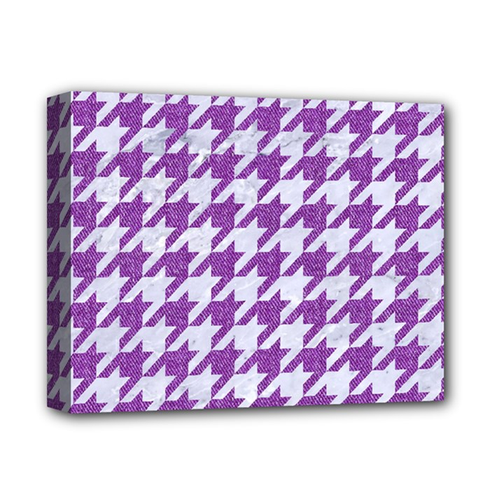 HOUNDSTOOTH1 WHITE MARBLE & PURPLE DENIM Deluxe Canvas 14  x 11