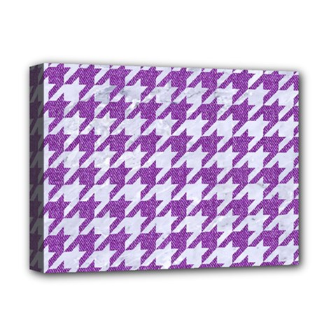 Houndstooth1 White Marble & Purple Denim Deluxe Canvas 16  X 12