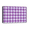 HOUNDSTOOTH1 WHITE MARBLE & PURPLE DENIM Deluxe Canvas 18  x 12   View1