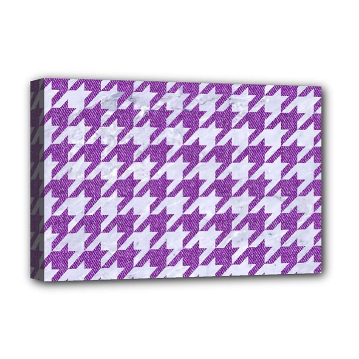 HOUNDSTOOTH1 WHITE MARBLE & PURPLE DENIM Deluxe Canvas 18  x 12
