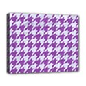 HOUNDSTOOTH1 WHITE MARBLE & PURPLE DENIM Deluxe Canvas 20  x 16   View1
