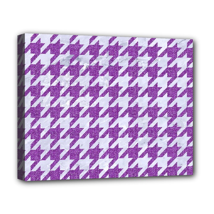 HOUNDSTOOTH1 WHITE MARBLE & PURPLE DENIM Deluxe Canvas 20  x 16