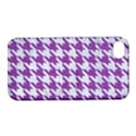 HOUNDSTOOTH1 WHITE MARBLE & PURPLE DENIM Apple iPhone 4/4S Hardshell Case with Stand View1