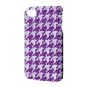 HOUNDSTOOTH1 WHITE MARBLE & PURPLE DENIM Apple iPhone 4/4S Hardshell Case with Stand View3