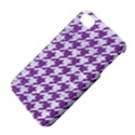HOUNDSTOOTH1 WHITE MARBLE & PURPLE DENIM Apple iPhone 4/4S Hardshell Case with Stand View4
