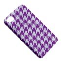 HOUNDSTOOTH1 WHITE MARBLE & PURPLE DENIM Apple iPhone 4/4S Hardshell Case with Stand View5