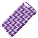 HOUNDSTOOTH1 WHITE MARBLE & PURPLE DENIM Apple iPhone 5 Hardshell Case with Stand View4