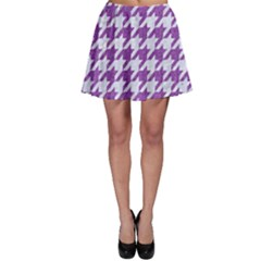 Houndstooth1 White Marble & Purple Denim Skater Skirt