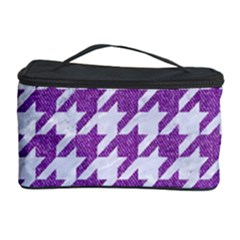 Houndstooth1 White Marble & Purple Denim Cosmetic Storage Case