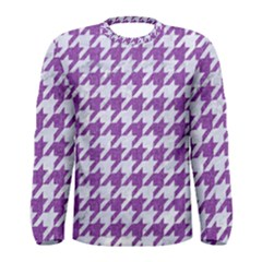 Houndstooth1 White Marble & Purple Denim Men s Long Sleeve Tee
