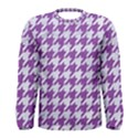 HOUNDSTOOTH1 WHITE MARBLE & PURPLE DENIM Men s Long Sleeve Tee View1