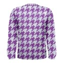 HOUNDSTOOTH1 WHITE MARBLE & PURPLE DENIM Men s Long Sleeve Tee View2