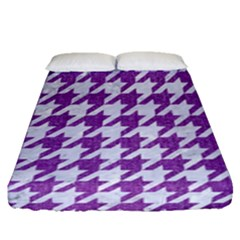 Houndstooth1 White Marble & Purple Denim Fitted Sheet (queen Size)