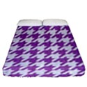HOUNDSTOOTH1 WHITE MARBLE & PURPLE DENIM Fitted Sheet (Queen Size) View1