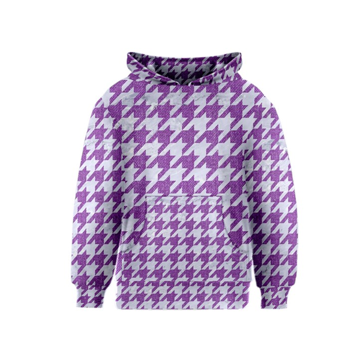 HOUNDSTOOTH1 WHITE MARBLE & PURPLE DENIM Kids  Pullover Hoodie