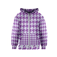Houndstooth1 White Marble & Purple Denim Kids  Zipper Hoodie