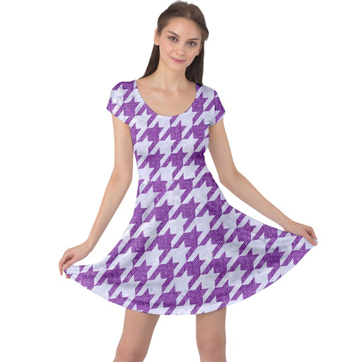 HOUNDSTOOTH1 WHITE MARBLE & PURPLE DENIM Cap Sleeve Dress