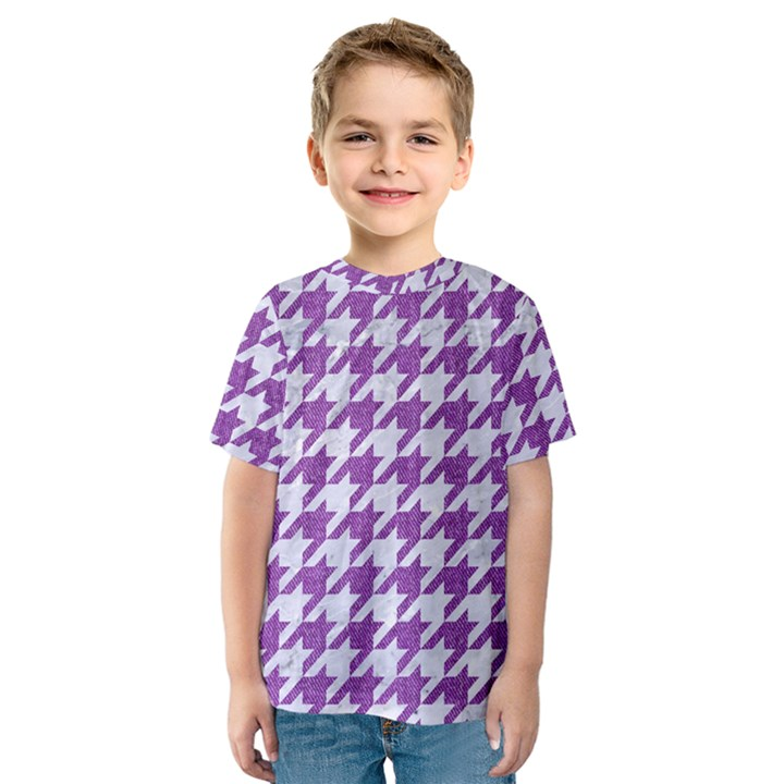 HOUNDSTOOTH1 WHITE MARBLE & PURPLE DENIM Kids  Sport Mesh Tee