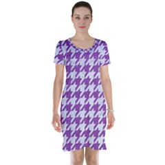Houndstooth1 White Marble & Purple Denim Short Sleeve Nightdress