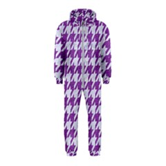 Houndstooth1 White Marble & Purple Denim Hooded Jumpsuit (kids)