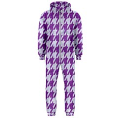 Houndstooth1 White Marble & Purple Denim Hooded Jumpsuit (men)