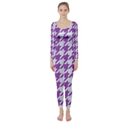 Houndstooth1 White Marble & Purple Denim Long Sleeve Catsuit