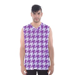 Houndstooth1 White Marble & Purple Denim Men s Basketball Tank Top