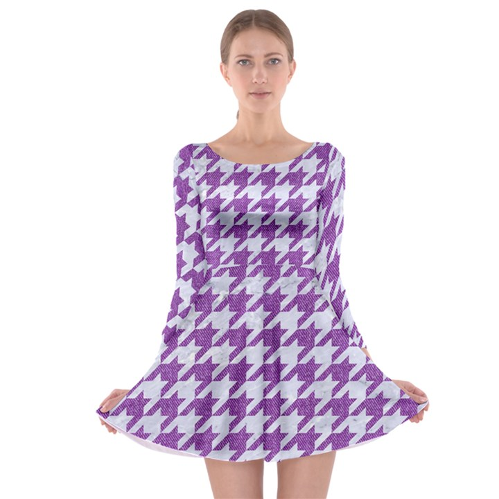 HOUNDSTOOTH1 WHITE MARBLE & PURPLE DENIM Long Sleeve Skater Dress