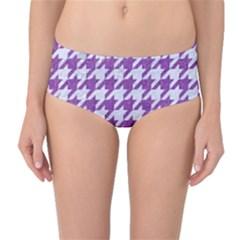 Houndstooth1 White Marble & Purple Denim Mid Waist Bikini Bottoms