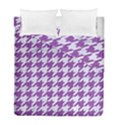 HOUNDSTOOTH1 WHITE MARBLE & PURPLE DENIM Duvet Cover Double Side (Full/ Double Size) View1