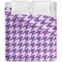 HOUNDSTOOTH1 WHITE MARBLE & PURPLE DENIM Duvet Cover Double Side (California King Size) View1