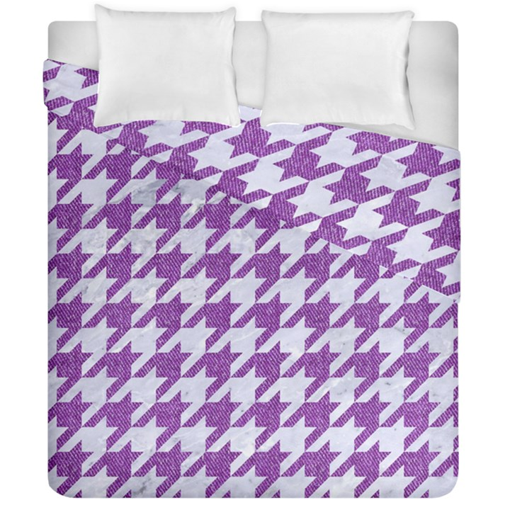 HOUNDSTOOTH1 WHITE MARBLE & PURPLE DENIM Duvet Cover Double Side (California King Size)
